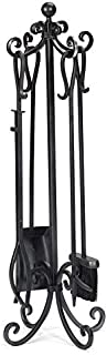 Plow & Hearth Crest Scroll Design Solid Steel Fireplace Tool Set with Tongs, Shovel, Broom, Poker and Stand 12 Dia. x 34.75 H Black Finish