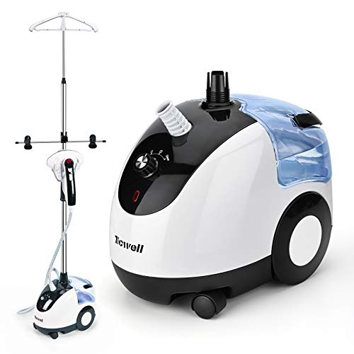 TICWELL Professional SteamerforClothes Garment Steamer Fabric Steamer 4 Steam Levels Adjustment Fast Heating Continuous Steam Self-Cleaning Function Heavy Duty Clothes Steamer with 2.4L Water Tank