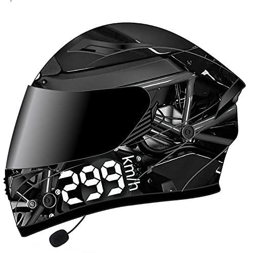 XIUJC Casco de Moto Modular Integrado con Bluetooth Integrado Anti Niebla Visera Doble, ECE/Dot Homologado Cascos Integrales Moto para Hombre y Mujer(Color:D,Size:XL)