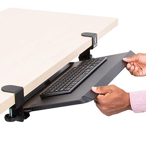 Stand Steady Clamp On Keyboard Tray with Adjustable Tilt | Ergonomic Under Desk Keyboard Shelf | Damage-Free Easy Installation- No Drilling Required | Perfect for Home or Office!
