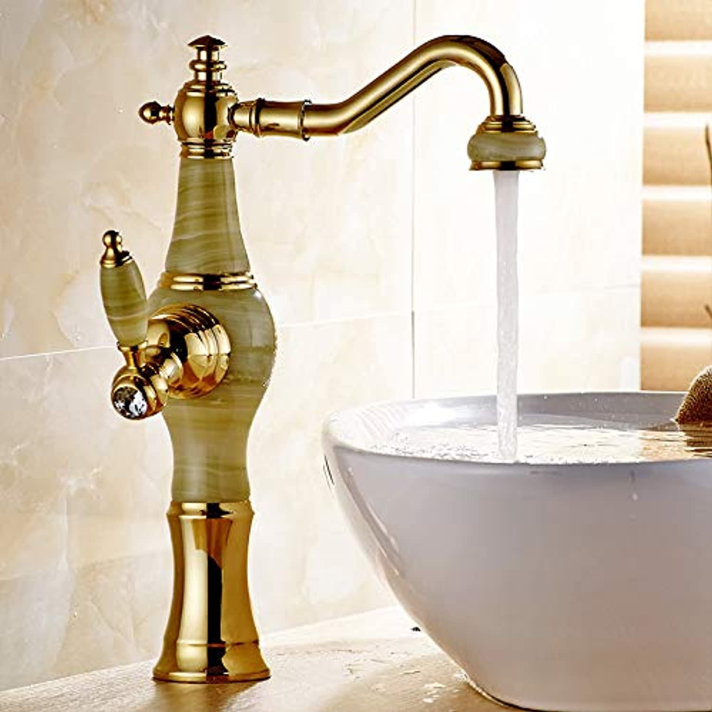 JONTON Faucet Wash Faucet Basin Faucet golden Brass Jade Body 360 Degree Swivel Bathroom Basin Faucet Deck Mount Countertop Water Mixer Tap