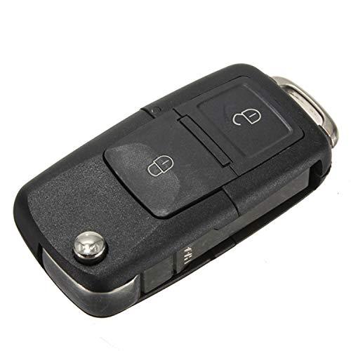 Cguard Klappbarer Funkschlüsselgehäuse für Volkswagen, 2 Tasten mit Schlüsselbart, kompatibel mit VW, Seat,...