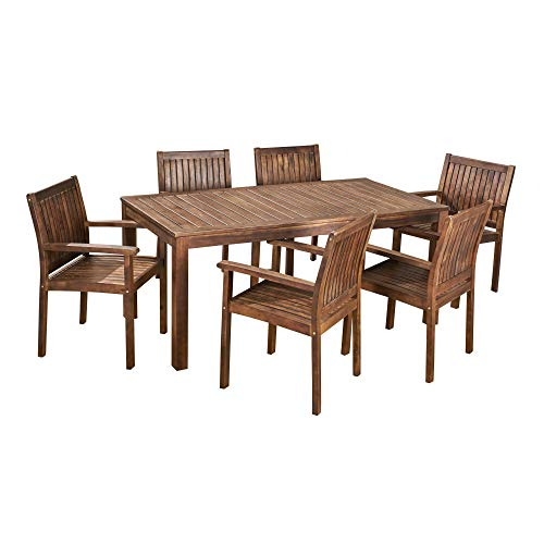 7-Piece Brown Solid Contemporary Rectangular Outdoor Furniture Patio Dining Set