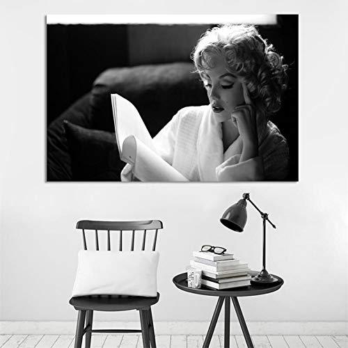 wZUN Carteles de Retrato Moderno e Impresiones murales Arte Lienzo Pinturas Monroe Lectura Sala de Estar decoración Pintura 50x75cm