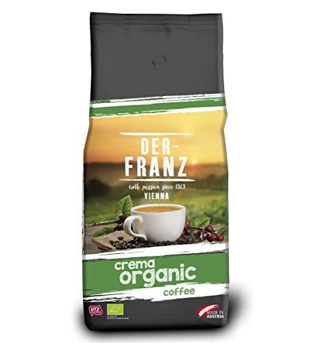Der-Franz - Café Crema Organic con certificación UTZ, en grano, 1000 g