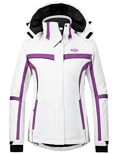 Wantdo Damen Winter Wasserdichte Skijacke Mountain Snow Winddicht Regenmantel - Weiß - X-Groß