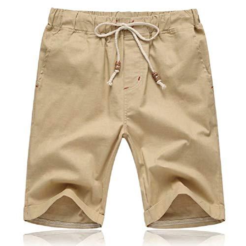 Tansozer Mens Shorts Casual Drawstring Summer Beach Shorts with Elastic Waist and Pockets (Khaki, Large)
