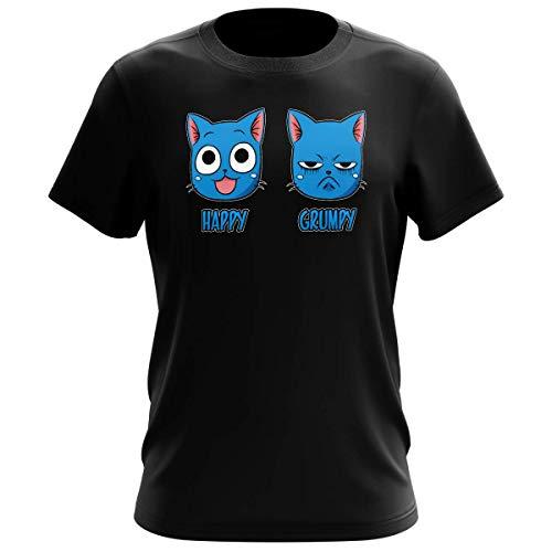 Okiwoki T-Shirt Homme Noir Parodie Fairy Tail - Happy Vs Grumpy Cat - Happy Grumpy (T-Shirt de qualité Premium de Taille S - imprimé en France)