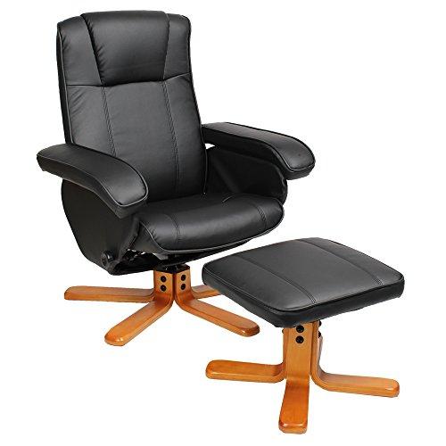 SVITA Charles Relaxsessel TV Sessel Wohnzimmersessel Hocker Beinablage Fernsehsessel Drehstuhl (Schwarz)