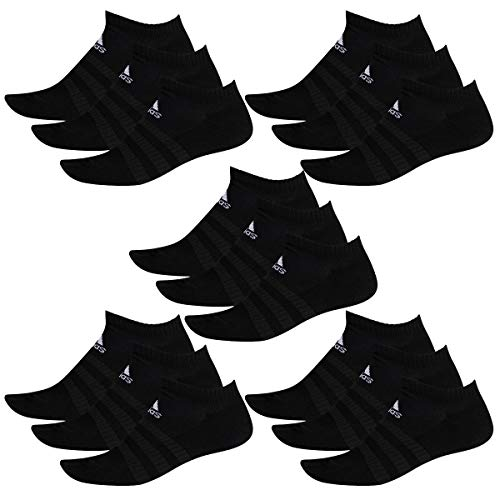 adidas 15 Paar Performance No Show Sneaker Socken Unisex Kurzsocke, Farbe:Black, Socken und Strümpfe:40-42