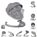 Cangaroo Babywippe iSwing, Musikfunktion, Timer, Fernbedienung, Aluminiumrahmen, Farbe:hellgrau