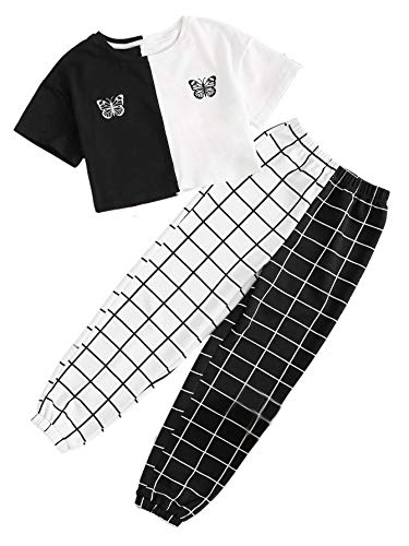 SOLY HUX Girl's 2 Piece Outfits Colorblock Butterfly Tee Top and Plaid Pants Set Black White 10Y