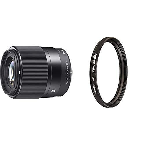 Sigma 30mm F1,4 DC DN Contemporary Objektiv (52mm Filtergewinde) für Sony-E Objektivbajonett & Amazon Basics UV-Sperrfilter - 52mm