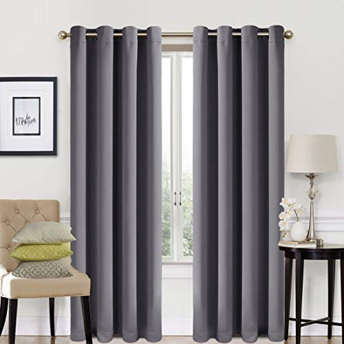 Blackout Curtains 2 Panels Set Thermal Insulated Window Treatment Solid Eyelet Darkening Curtain for Living Room Bedroom Nursery,Dark Grey,46x72 Inches