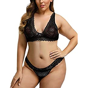 Lover-Beauty Women's Plus Size Lace Babydoll with Mesh Cups and Thong