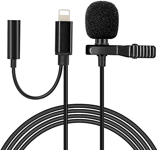 Hearkey Microfono Lavalier 1.5M Compatibile con iPhone 12 11  11 Pro  11 Pro Max, Condensatore Omnidirezionale Microphone con Jack da 3,5 mm per video live streaming di Vlog di interviste su YouTube