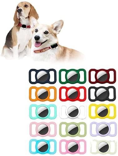 2 PCS Haustier Silikon Schutzhülle für Apple Airtag GPS Finder Hund Katze Halsband Schleife, Haustier Smart GPS Tracker Mini Anti-verloren Wasserdicht Bluetooth Locator, Einstellbar (Schwarz)