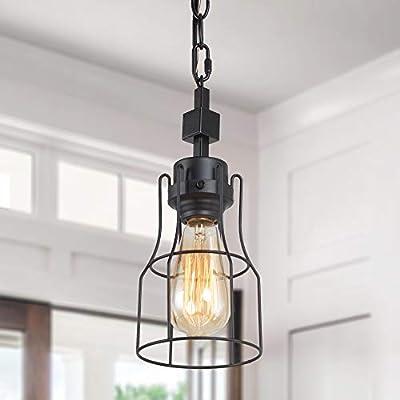 LNC Industrial Pendant Light Fixture, Metal Cage Pendant Lighting Black, Farmhouse Basket Pendant Hanging Light for Kitchen Island, Bedroom, Foyer and Entryway
