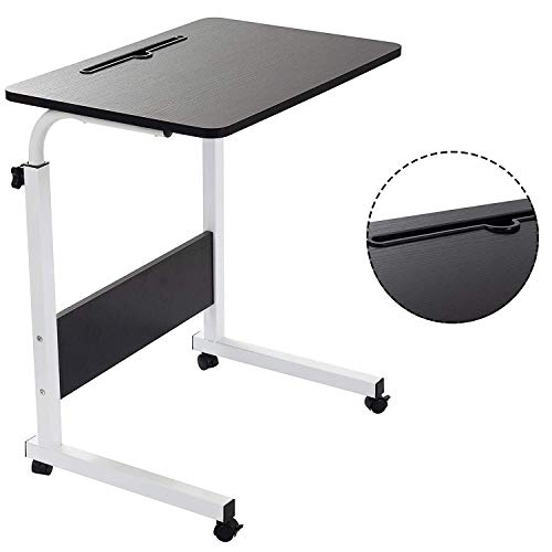 Folding Table 60 * 40cm Laptop Desk, Standing Height Adjustable Computer Desk with Mobile Phone Tablet PC Slot Movable with Wheels, Portable Side Table for Bed Sofa (Black)