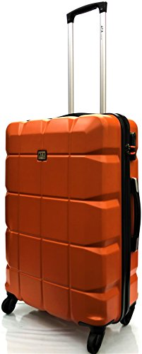 Super Lightweight ABS Hard Shell Durable Hold Luggage Suitcase Travel Case with 4 Wheels in Large(28'), Medium(24'), Cabin Approved for Ryanair & EasyJet (21') (24' Medium, Orange)