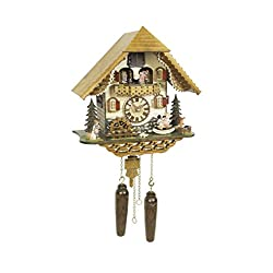 Trenkle Quartz Cuckoo Clock Black Forest House with Music, Turning Dancers TU 4219 QMT HZZG