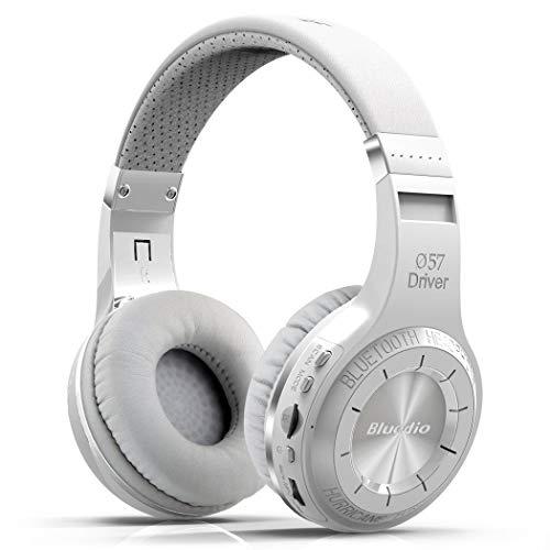 Bluedio H Plus Hurricane Turbine Wireless Bluetooth 5.0 Stereo Headphones with Mic/Micro SD Card Slot/FM Radio, Cloud Function Voice Contral (White)