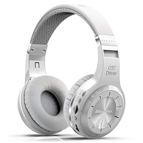 Bluedio H Plus Hurricane Turbine Wireless Bluetooth 5.0 Stereo Headphones with Mic/Micro SD Card Slot/FM Radio, Cloud Function Voice Contral (White)