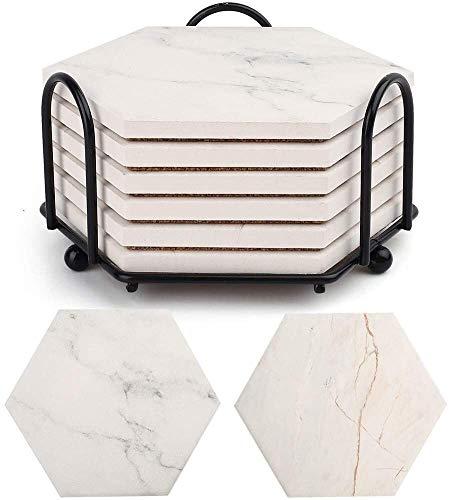 LotFancy Untersetzer Set mit Halter 6 Stück Sechseck Getränk Untersetzer, Saugfähig rutschfest, Keramisches Material, Marmor Stil Weiß für Zuhause Küche Büro
