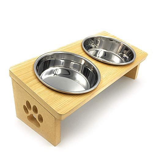 猫 食器台MDF+Plus W ステンレスボウル2個 (ナチュラル)
