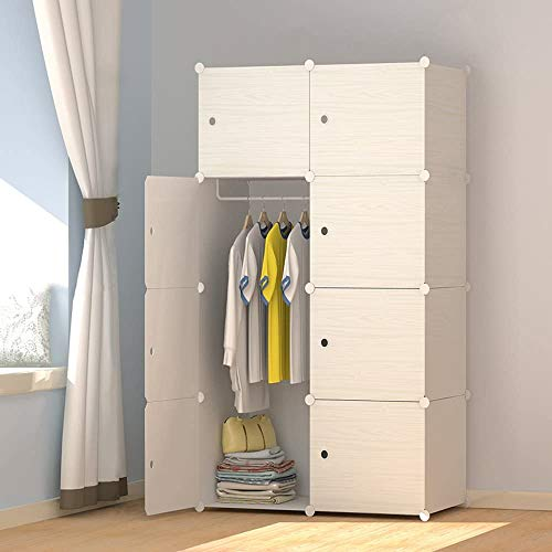 JOISCOPE MEGAFUTURE Wood Pattern Portable Wardrobe Closet for Hanging ClothesCombination Armoire Modular Cabinet for Space Saving Ideal Storage Organizer Cube for Books Toys Towels 8-Cube