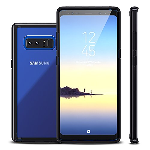 Samsung Galaxy Note 8 Hülle, Silikon Transparent Stoßfest Bumper Hart Plastik Rückschale Durchsichtig hardcase Mädchen Damen Dünn Cute TPU Hybride Schutzhülle Handyhülle Case für Galaxy Note 8 Schwarz