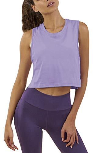 Mippo Workout Tops Crop Top Workout Shirts Athletic Yoga Cute Crop Top Muscle Tee Flowy Loose Crop Tops High Neck Tank Tops Pilates Clothes for Women Gym Purple L (Apparel)
