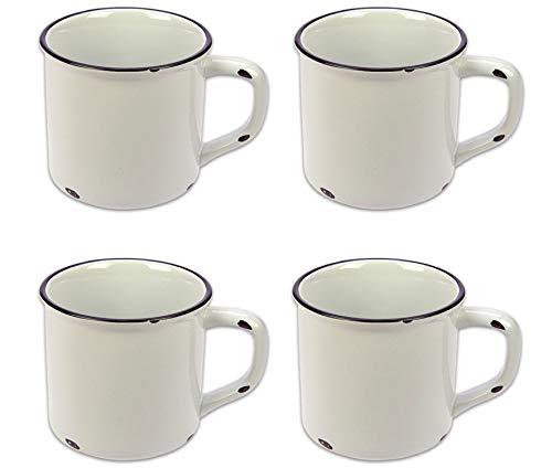 Tony Brown Kaffeebecher Emaille-Optik Tassen Becher Kaffeetasse Teetasse Keramiktasse 500ml (Weiß, 4er Set)