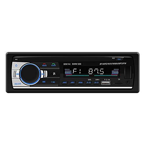 BEESCLOVER Bluetooth Car Audio Stéréo 60 Wx4 Radio de Voiture 12 V Intégré au Tableau de Bord 1 DIN FM entrée auxiliaire récepteur USB MP3 MMC WMA de Voiture Radio MP3 Player 530