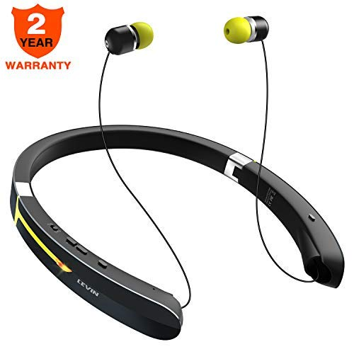 Bluetooth Headphone Wireless Neckband Headset - Lightweight Sweatproof Sport Earphones w/Mic Call Vibrate Alert, Retractable Earbuds for Android Cellphone Tablets TV More