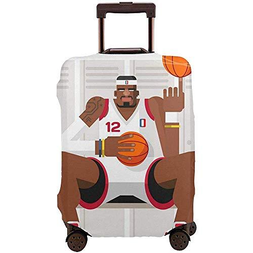 Cubierta de Equipaje de Viaje Protector de Cubierta de Maleta de Jugador de Baloncesto de Dibujos Animados Se Adapta a la Cubierta de Equipaje de Equipaje de 22-24 Pulgadas