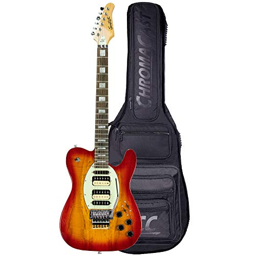 GoDpsMusic 6 String Sawtooth ET Hybrid Electric Guitar with Floyd Rose, Spalted Maple Trans Cherry Burst with ChromaCast Pro Series Gig Bag, Right, (ST FL-SMTCB)