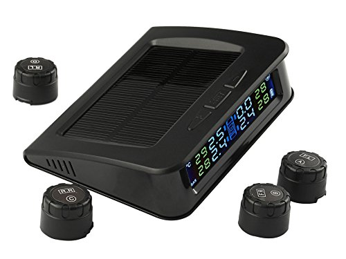 TPMS Solar Power Universal Wireless Tire Pressure Monitoring System with 4 External Sensors to Monitor and Display the Pressure and Temperature of 4 Tires in Real-time