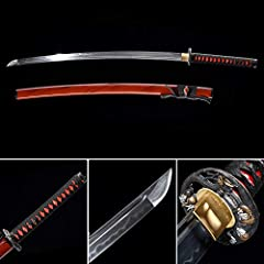 full tang, sharp edge and functional The blade is made by high carbon steel T10, hand-forged, Real white ray skin, Bamboo nails,no bo-hi (blood groove) . The Sword is 100% Pure Hand Forged by Using Traditional Hand Forged Method: Annealing, Tempering...