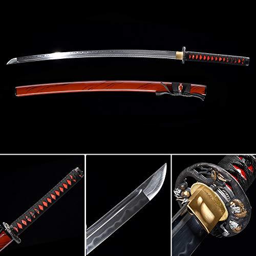 xinan2018 Japanese 1060 T10 1045 1090 Samurai Katana Real Battle Ready Hand Forged Damascus Carbon Steel Heat Tempered Full Tang Sharp Scabbard Handmade Black Wall Mount Steel