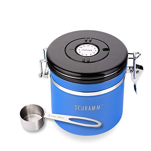 Schramm® Kaffeedose 1200 ml in 10 Farben mit Dosierlöffel Kaffeedosen Kaffeebehälter aus Edelstahl, Farbe:blau