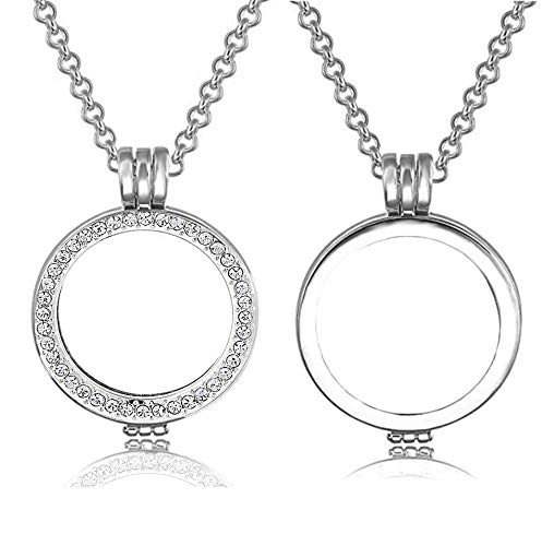 AKKi jewelry Damen 2er Amulett für Coins 33 mm mit und ohne Zirkoniasteine Starter Set Angebot wechsel-schmuck Strass Uni SL SL