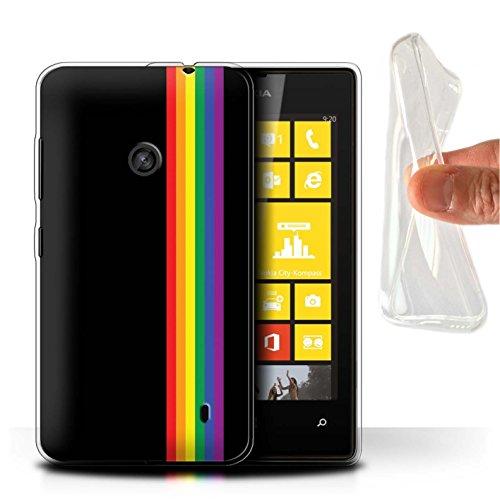 Hülle Für Nokia Lumia 520 LGBT Gay Pride Kunst Gleichheits-Streifen Design Transparent Dünn Weich Silikon Gel/TPU Schutz Handyhülle Case