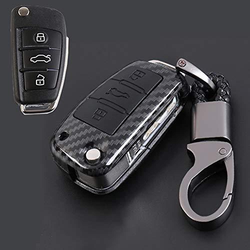 ontto für Audi Klapp Autoschlüssel Hülle Abdeckung Schlüssel Tasche ABS & Gummi Schlüsselschutz Schlüsselanhänger für Audi A1 A2 A3 A4 A6 S4 RS4 TT Q7 S6 RS6 R8 3 Tasten-Kohlefaser schwarz