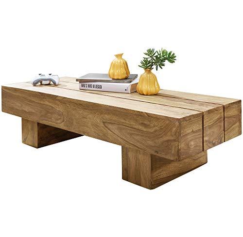 FineBuy Couchtisch Massiv-Holz LUCCA Akazie 120 cm breit Wohnzimmer-Tisch Design dunkel-braun Landhaus-Stil Beistelltisch Natur-Produkt Wohnzimmermöbel Unikat modern Massivholzmöbel Echtholz rechteckig