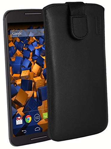 mumbi Echt Ledertasche kompatibel mit Motorola Moto X 2. Generation Hülle Leder Tasche Hülle Wallet, Schwarz