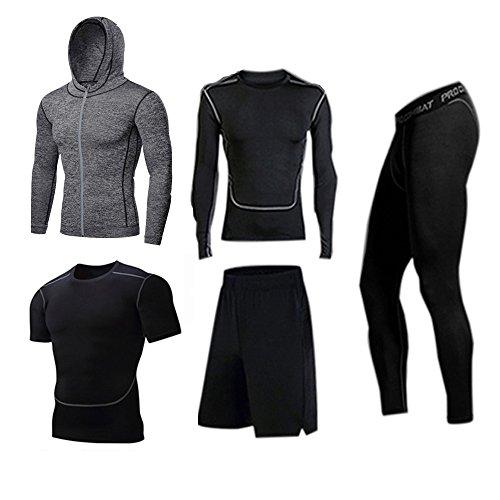 BUYJYA 5Pcs Men's Compression Top Pants Long Sleeve Workout Set Fitness Suit (Gray, L)