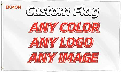 Benutzerdefinierte Flagge,Einzelne Flagge,Wetterfeste Fahnen und Flaggen mit Messing-Ösen in verschiedenen Größen-Drucken Sie Ihr eigenes Logo/Design / Wörter Lebendige Farbe (190*130cm/6.29*4.19 FT)