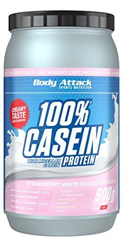 Body Attack 100% Casein Protein, reich an essentiellen Aminosäuren - Muskelaufbau und Erhalt, Low Sugar - für Sportler, Athleten & Figurbewusste - Strawberry White Choc, 900g Eiweißpulver