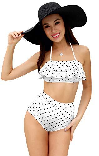 SHEKINI Costumi da Bagno Donna Due Pezzi Bikini Imbottito Halter Regolabile Elegante A Balze Top Costumi Mare Donna A Vita Alta Triangolo Stampato Bikini Fondo (M, Punto d'onda)